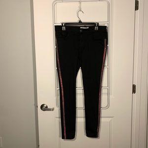 Zara Black Pants Side Stripe Red Jenas Size 12